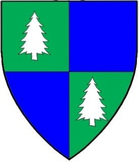 Quarterly vert and azure, in bend two pine trees couped argent.