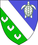 Per bend azure and vert, a bend between a natural sea-tortoise and three seeblätter argent.
