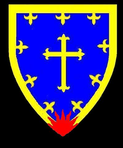 Azure a cross fleury or a border fleury or issuant from base a sun in splendor gules.