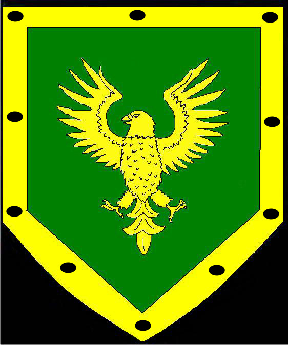 Vert, an eagle Or and a bordure Or pellety.