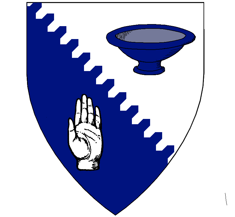 Per bend urdy argent and azure, a bowl and a sinister hand counterchanged.