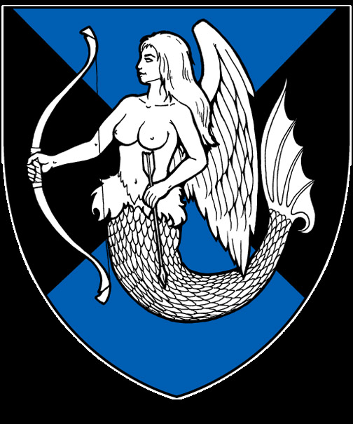 (Fieldless) A winged mermaid proper crined sable, winged and tailed azure, facing dexter, sustaining a bow sable.