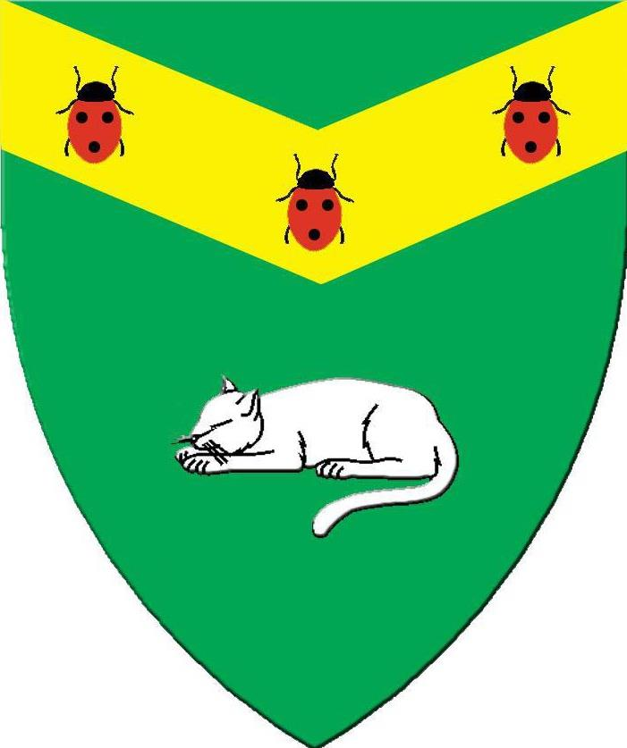 Vert, on a chevron inverted Or three ladybugs gules spotted sable and in base a domestic cat dormant argent.