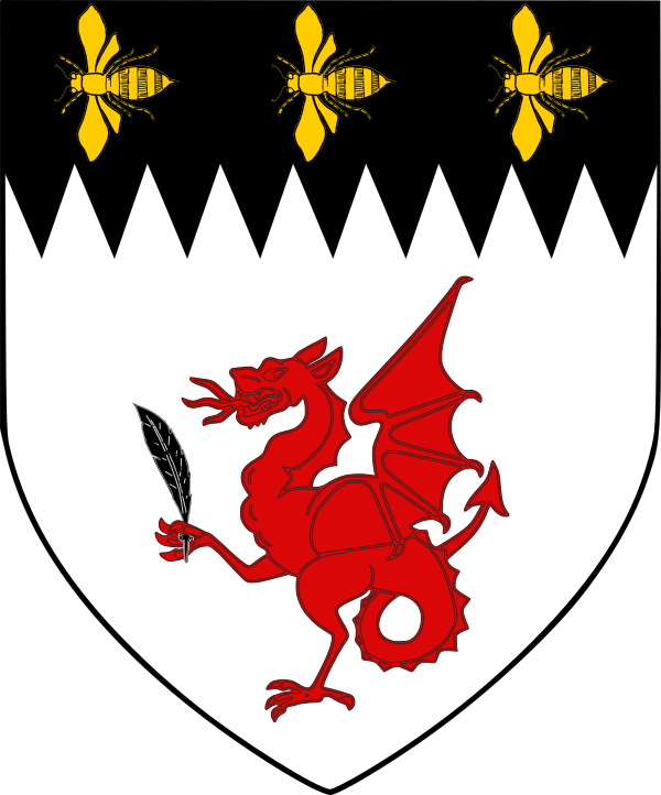 Argent, a wyvern passant gules, maintaining a quill pen, on a chief indented sable, three bees volant en arrière to dexter Or.