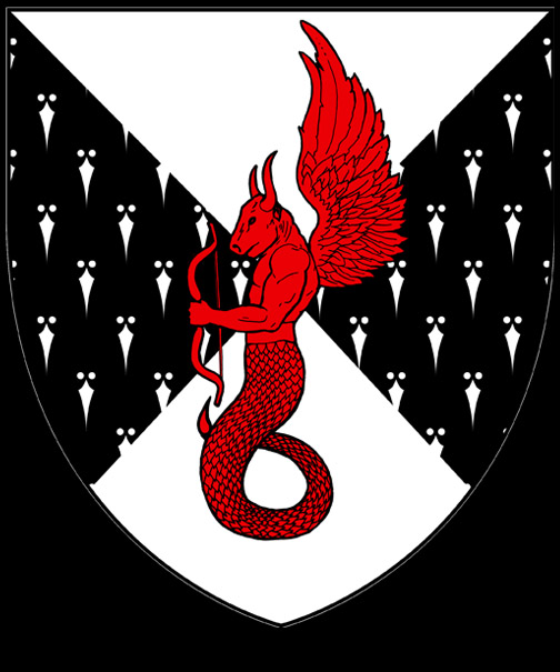 Per saltire argent and counter-ermine, a monster composed of the head and torso of a bull, the tail of a snake, the wings of an eagle and the forearms of a man, erect, wings elevated and maintaining a bow gules.