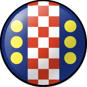 SCA Exchecquer Badge: Azure, a pale checky Gules and Argent between six bezants in pale three and three.