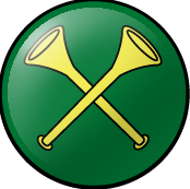 SCA Herald Badge: Vert, two straight trumpets in saltire, bells in chief Or.